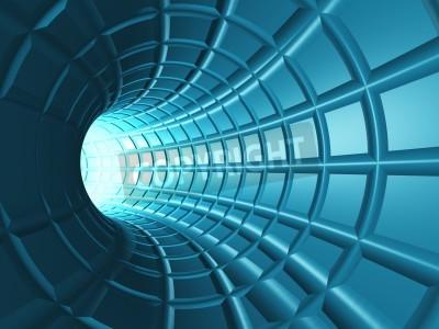 Fototapet Web Tunnel - En radiell tunnel med ett perspektiv webben som rutnät.