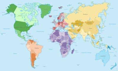 Fototapet Weltkarte - einzelne Kontinente i Farbe (hoher Detailgrad)