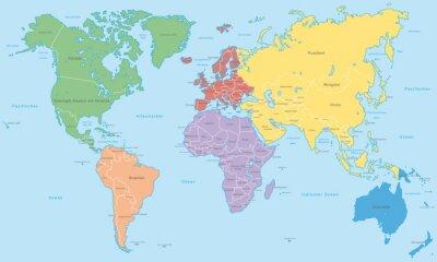 Fototapet Weltkarte - Kontinente i Farbe (hoher Detailgrad)