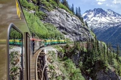 Fototapet White Pass Yukon Route Railroad färdas längs klipporna på väg mot Skagway, Alaska