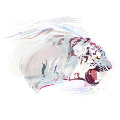 Fototapet White Tiger, akvarell Illustration