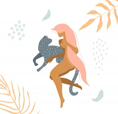 Fototapet Wild cat and naked woman laying down in nature apparel print design.