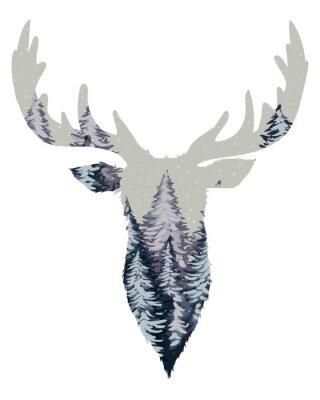Fototapet Wild Deer Head Silhouette