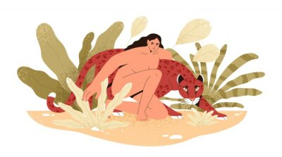 Fototapet Wilderness naked woman hug jaguar at tropical bushes vector flat illustration. Predator and human together isolated. Contemporary concept of wild female nature, environment protection.