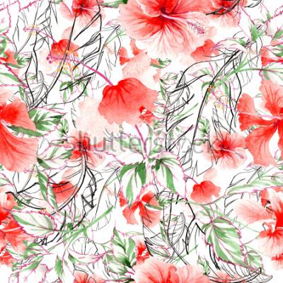 Fototapet Wildflower steg blommönster i akvarellstil. Fullständigt namn på växten: ros, rosa, hulthemi. Aquarelle vildblomma för bakgrund, textur, omslagsmönster, ram eller kant.
