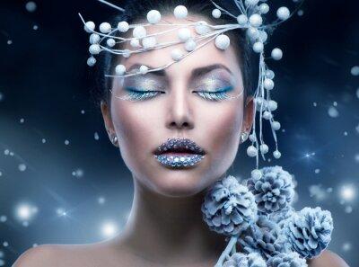 Fototapet Winter Beauty kvinna. Jul flicka makeup
