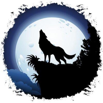 Fototapet Wolf som tjuter på Blue Moon på Grunge Frame
