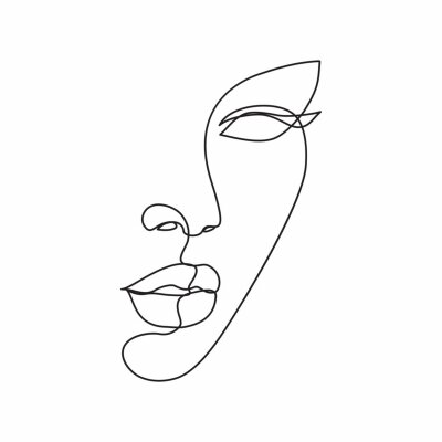 Fototapet Woman face line drawing art. Abstract minimal female face icon, logo