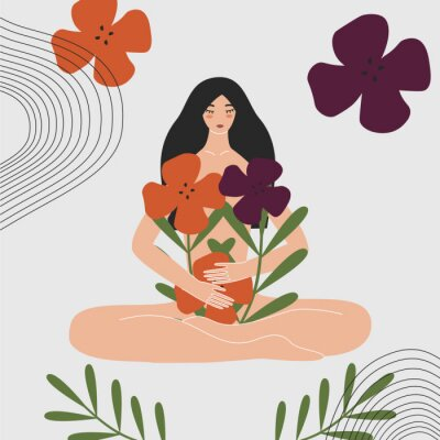 Fototapet Woman health and gynecology concept. Wild and natural female beauty. Beautiful pregnant naked asian girl holding bouquet of flowers. Idea of fertility, body positivity. Flat vector illustration