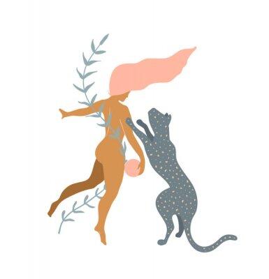 Fototapet Woman naked and Wild Cat minimal silhouette modern art print design.