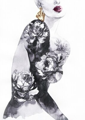 Fototapet woman with flowers. beauty background. fashion illustration. watercolor painting