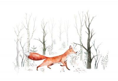 Fototapet Woodland watercolor cute animals baby fox. Nursery bunny Scandinavian forest nursery fox design. Isolated character
