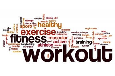 Fototapet Workout ordet moln koncept