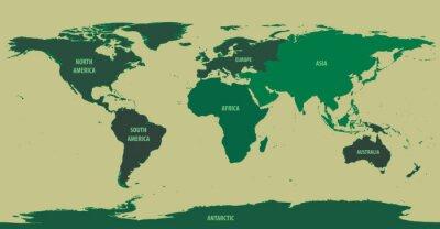 Fototapet World Green Med Kontinent Names