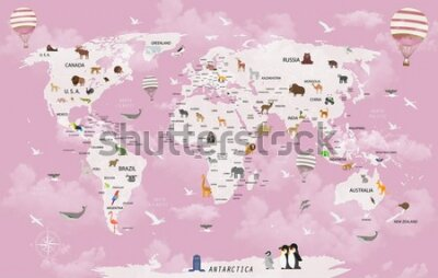 Fototapet World map animals for child room wallpaper