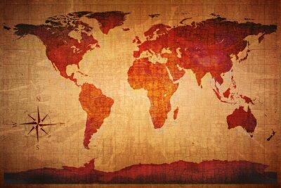 Fototapet World Map Grunge Styled