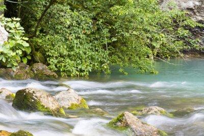 Fototapet Река находится в горах Абхазии и впадает в голубое озеро.
