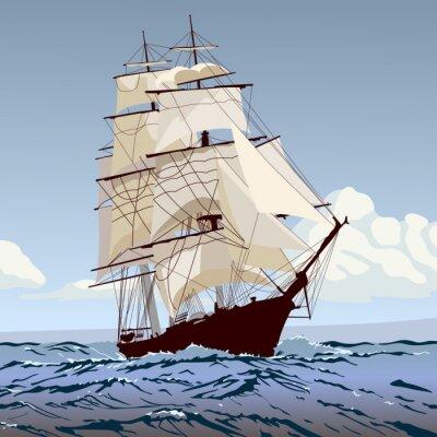 Fototapet корабль с парусами бежит по волнам