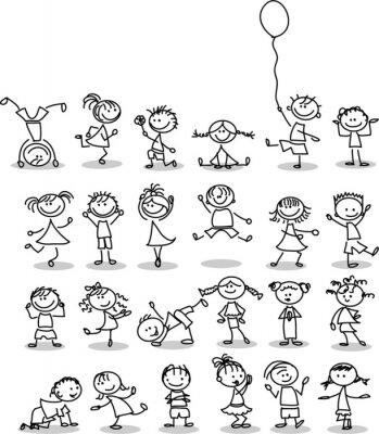 Fototapet Симпатичные счастливых детей мультфильм