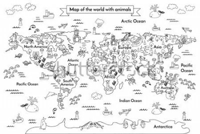 Fototapet Coloring book map of the world. Ð¡artoon globe with animals. Black and white hand drawn vector illustration. Oceans and continent: South America, Eurasia, North America, Africa, Australia