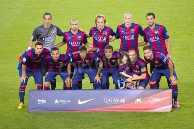 Fototapet FCB spelare poserar för bilder på Gamper vänskapsmatch mellan FC Barcelona och Club Leon FC, slutresultatet 6-0, den 18 augusti, 2014 i Camp Nou, Barcelona, Spanien