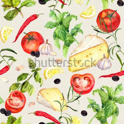 Fototapet Köksmönster med öst, tomater, vitlök, kryddor och ↔. Upprepande matlagningsbakgrund. Vattenfärg