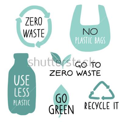 Fototapet Sats med ekologiska illustrationelement och handskrivna bokstäver. Återvinna det, använd mindre plast, gå grönt. Noll slöseri med slöseri, typografi. Vektor illustration.