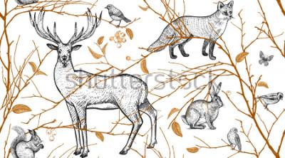 Fototapet Sömlöst mönster med trädgrenar, skogsdjur och fåglar. Hjort, räv, hare, ekorre. Vektor illustration konst. Naturlig design för tyger, textilier, papper, tapeter. Guld svart, vit. Årgang.