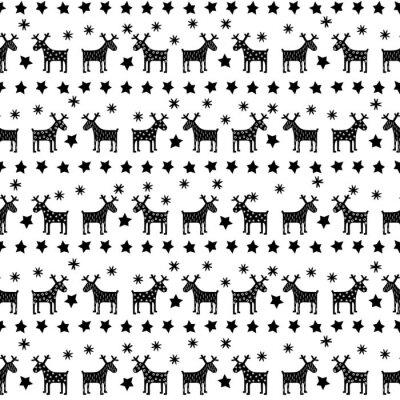 Fototapet Svart och vitt sömlösa retro jul mönster - varierade Xmas renar, stjärnor och snöflingor. Gott Nytt År bakgrund. Vektordesign för vintern semester på vit bakgrund.