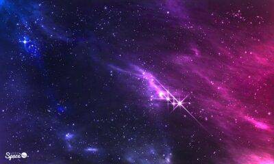 Fototapet Yttre rymden. Vektor illustration av kosmiska nebulosan med stjärnhopen.