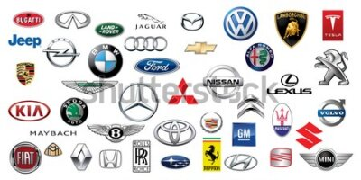 Fototapet ZAPOROZHYE, UKRAINE - DECEMBER 20, 2017: Logos collection of different brands of cars, printed on paper
