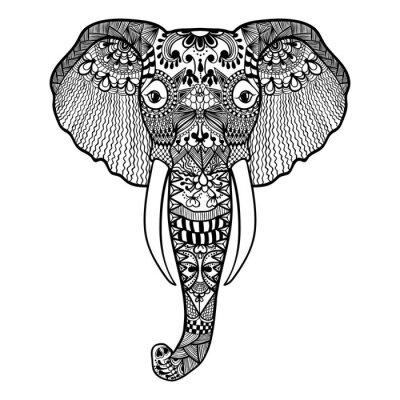 Fototapet Zentangle stiliserad elefant. Handritad spets vektor