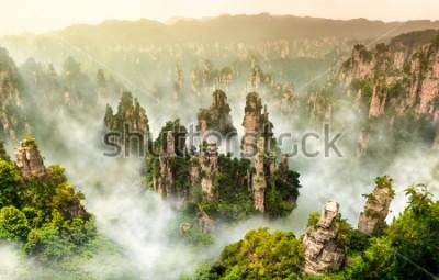 Fototapet Zhangjiajie klippa berg vid Wulingyuan Hunan Kina