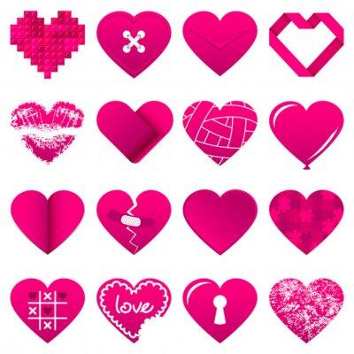 Väggdekor 16 abstrakt rosa hjärtan