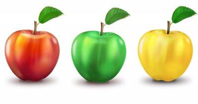 Väggdekor 3 Äpplen rot, grün, gelb, freigestellt