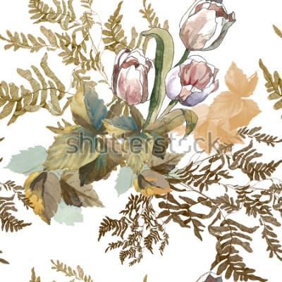 Väggdekor 3 vita tulpaner och gräs akvarell på vit bakgrund sömlös mönster för tyger, papper