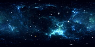 Väggdekor 360 graders rymdnebulpanorama, rektangulär projektion, miljökarta. HDRI sfärisk panorama. Utrymme bakgrund med nebula och stjärnor