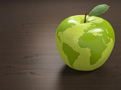 Väggdekor 3d äpple Världshälso