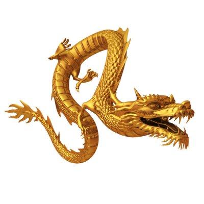 Väggdekor 3d framför gyllene drake