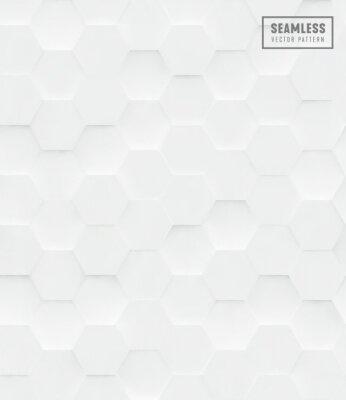 Väggdekor 3d Hexagon polygonal sömlös vektor mönster, vit geometrisk affärsbakgrund