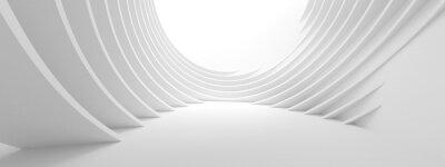 Väggdekor 3d illustration av vit cirkelbyggnad. Modern geometrisk bakgrund. Futuristisk Teknisk Design