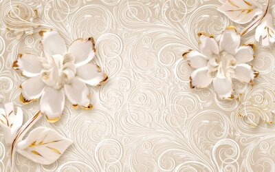 Väggdekor 3d illustration, beige ornamental background, large white abstract gilded flowers