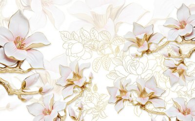 Väggdekor 3d illustration, light background with the contours of peonies, large gilded pink magnolia flowers