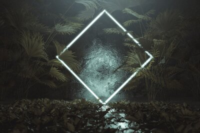 Väggdekor 3d rendering of blue lighten square shape with light beam surrounded by palm leaves