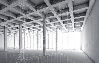 Väggdekor 3d tom interiör med tråd ram effekt