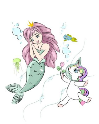 Väggdekor A beautiful mermaid and a unicorn. The unicorn swims with a mermaid and gives her a flower. Postcard with a mermaid. Style doodle. Print for t-shirts and baby clothes, cards, posters and any design.