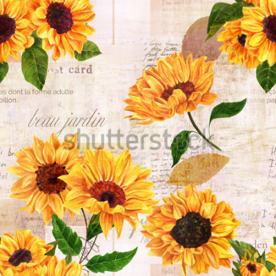 Väggdekor A seamless pattern with hand drawn vibrant yellow watercolor sunflowers on the background of old letters, postcards, and newspaper scraps mockups, vintage style floral repeat print
