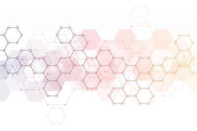 Väggdekor Abstract background of science and innovation technology. Technical background with hexagons pattern and molecular structures.