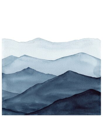 Väggdekor abstract indigo blue watercolor waves mountains on white background