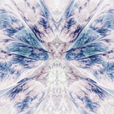 Väggdekor Abstract intricate symmetrical rose and blue ornament. Fantastic fractal design. Psychedelic digital art. 3d rendering.